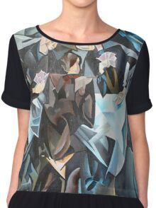 Three Men Playing Cards After Rockline Women's Chiffon Top