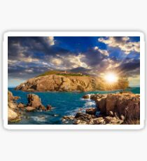 composite island with hills and castle at sunset Sticker