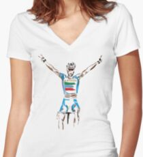 nibali yellow Women's Fitted V-Neck T-Shirt