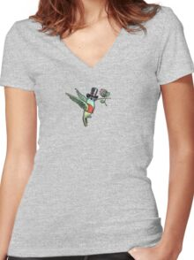 Dapper Hummingbird Women's Fitted V-Neck T-Shirt