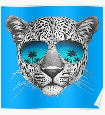 Leopard with sunglasses Poster