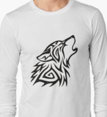 Tribal Wolf Howl Long Sleeve T-Shirt