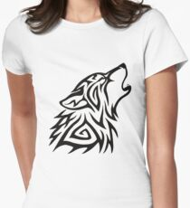 Tribal Wolf Howl Women's Fitted T-Shirt