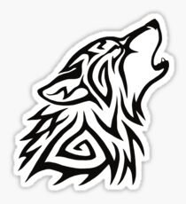 Tribal Wolf Howl Sticker