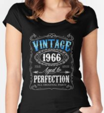 50th birthday gift for men Vintage 1966 aged to perfection 50 birthday Women's Fitted Scoop T-Shirt
