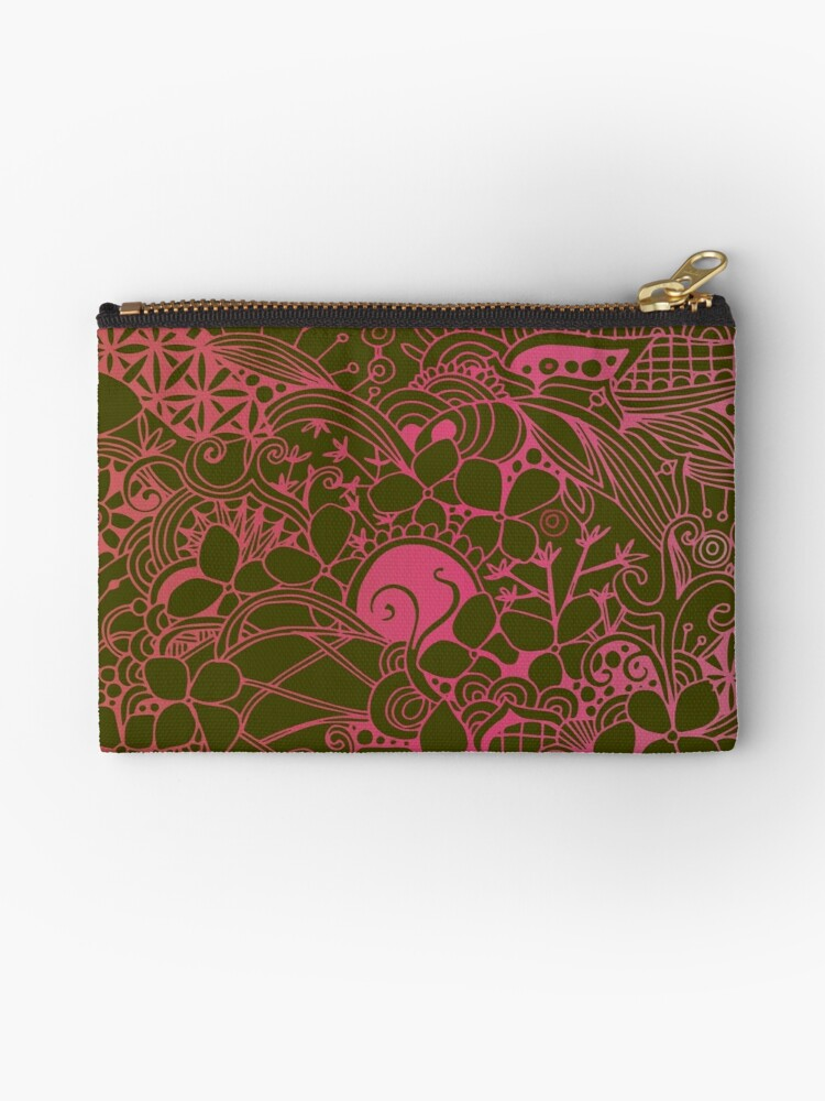 Olive square, pink floral doodle, zentangle inspired art by camcreativedk