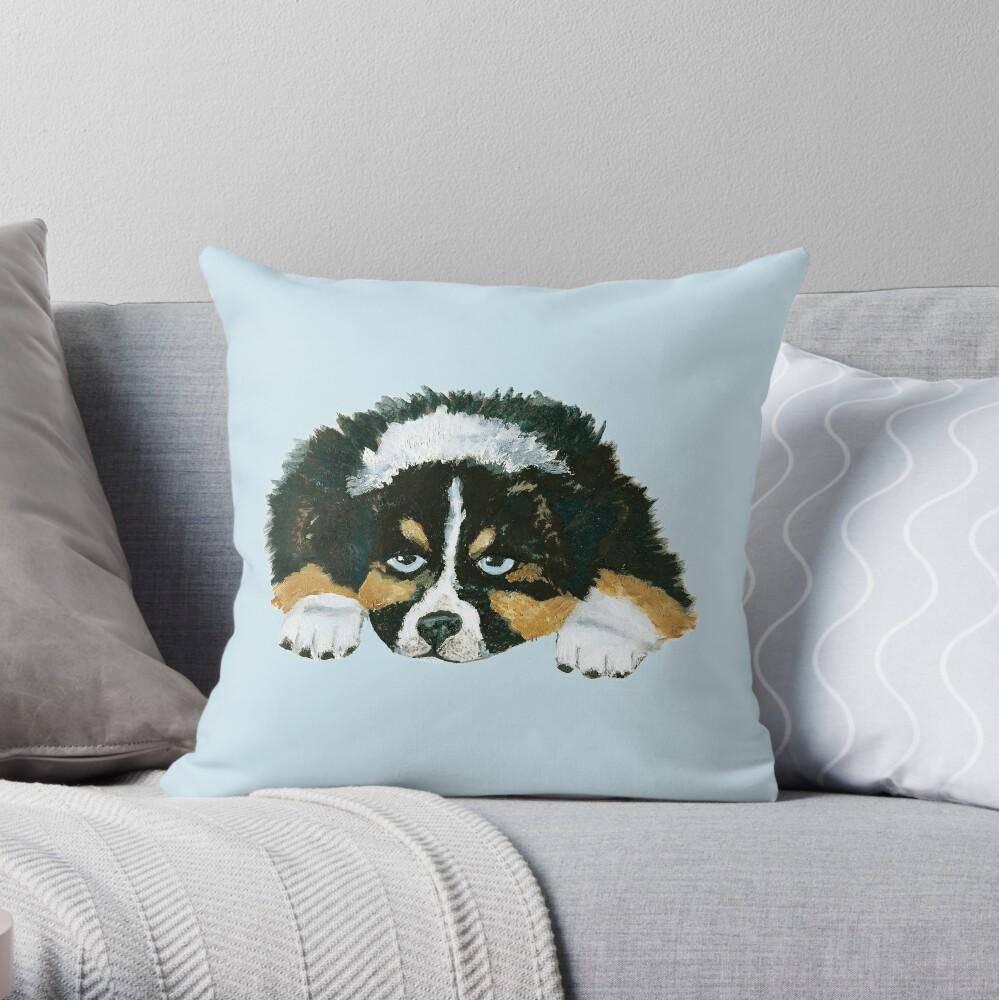 Black Tri Australian Shepherd Puppy   Throw Pillow