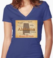 Aged Alabama State Pride Map Silhouette  Women's Fitted V-Neck T-Shirt