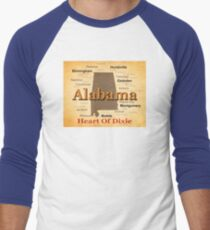 Aged Alabama State Pride Map Silhouette  Men's Baseball ¾ T-Shirt