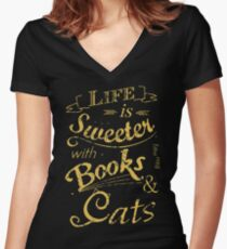 life is sweeter with books & cats #2 Women's Fitted V-Neck T-Shirt
