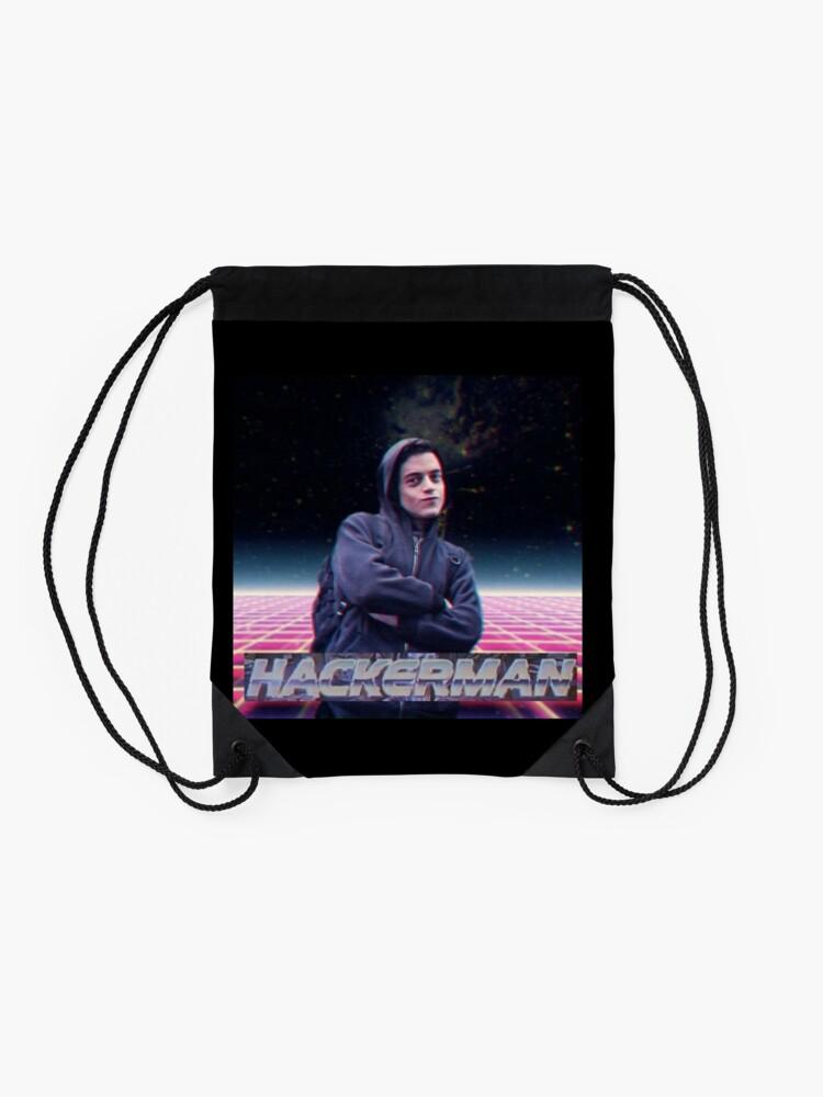 Alternate view of Hacker man Drawstring Bag