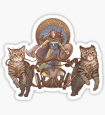 Freya Driving Her Cat Chariot Sticker