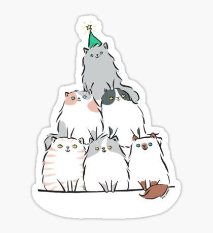 Kitty Cat Christmas Tree Sticker