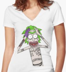 I'm just going to wubba lubba dub dub you real bad Women's Fitted V-Neck T-Shirt