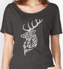 Tribal Stag White Women's Relaxed Fit T-Shirt