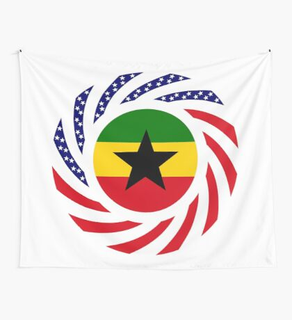 Ghanaian American Multinational Patriot Flag Series Wall Tapestry