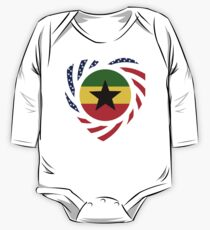 Ghanaian American Multinational Patriot Flag Series Long Sleeve Baby One-Piece