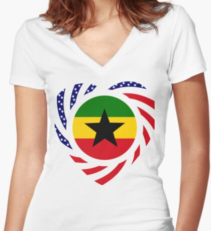 Ghanaian American Multinational Patriot Flag Series Fitted V-Neck T-Shirt