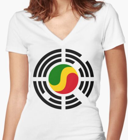 Korean Congolese Multinational Patriot Flag Series Fitted V-Neck T-Shirt