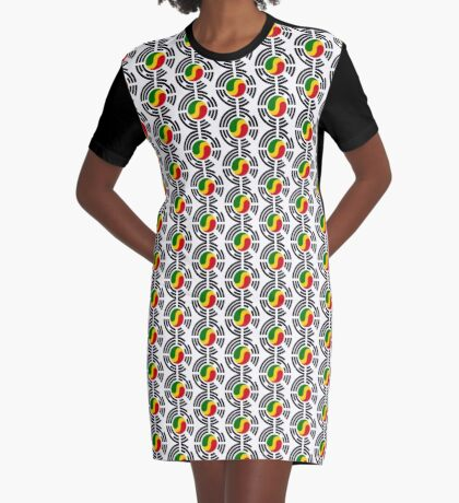 Korean Congolese Multinational Patriot Flag Series Graphic T-Shirt Dress