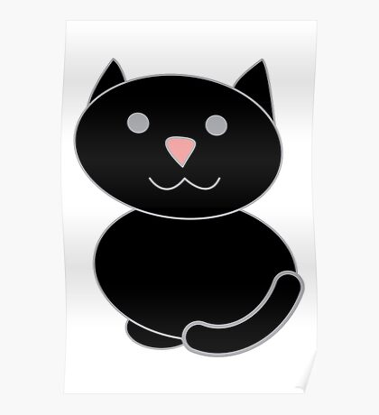 Black Kawaii Cat  Poster