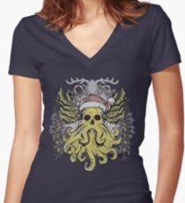 Merry Cthulhumas! Women's Fitted V-Neck T-Shirt