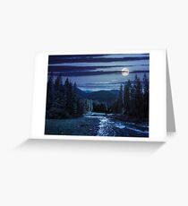 Mountain river in pine forest at night Greeting Card