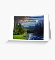 Mountain river in pine forest day and night Greeting Card