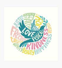 Dove of Peace Lettering Design Art Print