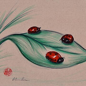 RED LADIES - Original ladybug mixed media drawing/painting by tranquilwaters