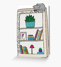 Cat-lover bookshelf. Greeting Card