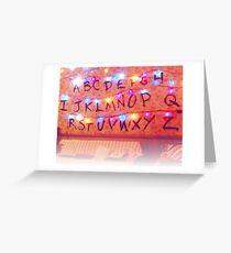 STRANGER THINGS ALPHABET LIGHTS Greeting Card