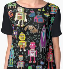Robots in Space - black Chiffon Top