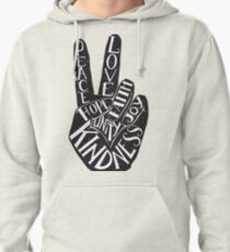 Peace Sign with words Peace, Love, Faith, Joy, Hope, Kindness, Unity Pullover Hoodie