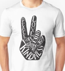 Peace Sign with words Peace, Love, Faith, Joy, Hope, Kindness, Unity T-Shirt