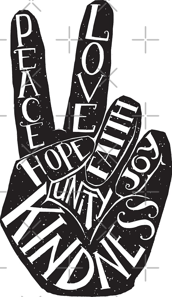 Quot Peace Sign With Words Peace Love Faith Joy Hope