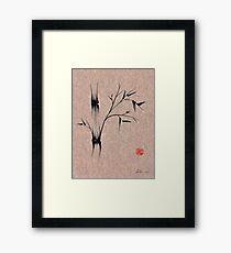 The Ladybug Sleeps - india ink brush pen bamboo drawing Framed Print