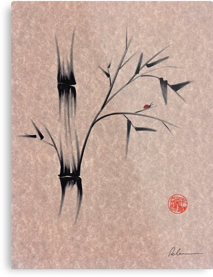 The Ladybug Sleeps - india ink brush pen bamboo drawing by Rebecca Rees