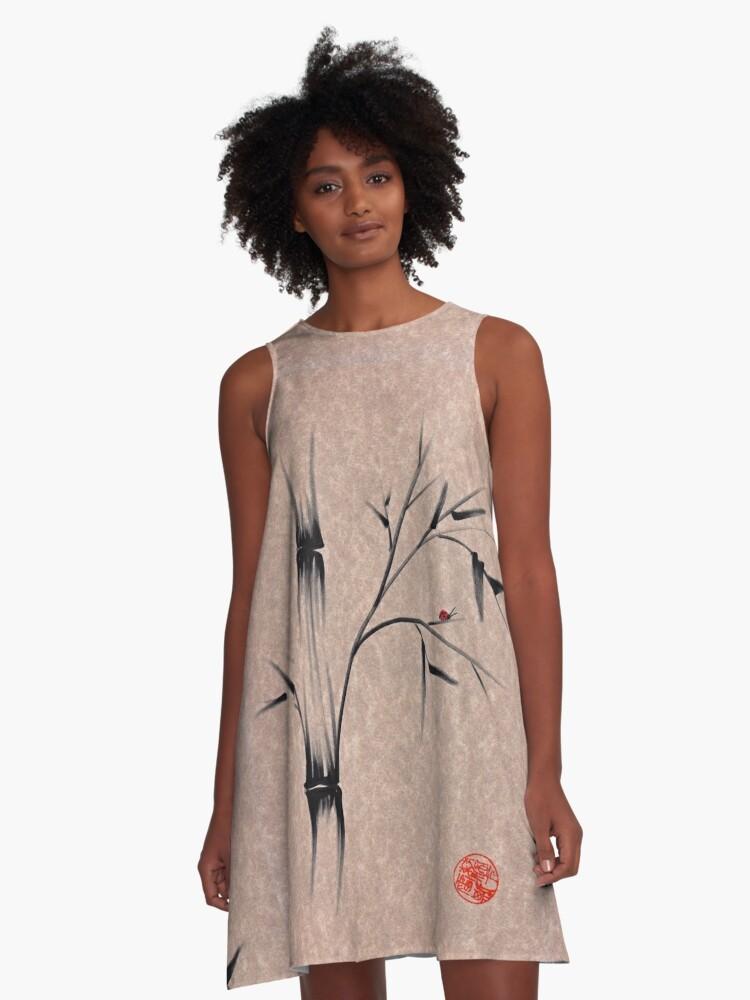 The Ladybug Sleeps - india ink brush pen bamboo drawing A-Line Dress Front