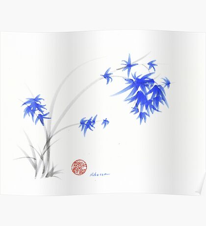 """""""Soft Flowers"""" Sumie watercolor painting   Poster"""