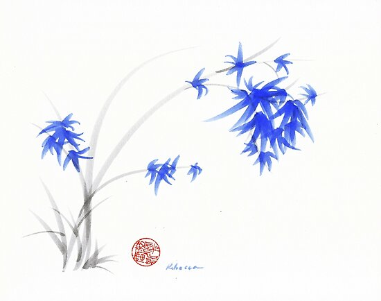 """Soft Flowers"" Sumie watercolor painting   by Rebecca Rees"