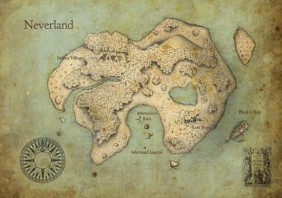 Quot Peter Pan Neverland Map Quot Posters By Craig Wetzel Redbubble