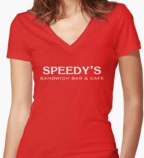 Speedy's Sandwich Bar & Cafe Women's Fitted V-Neck T-Shirt