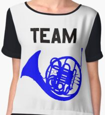 Team Blue French Horn – Ted, Robin, HIMYM Women's Chiffon Top
