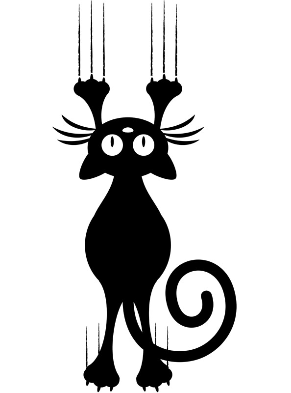 u0026quot cute cartoon black cat scratching u0026quot  metal prints by