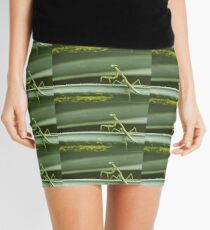Carolina mantis against green plant Mini Skirt