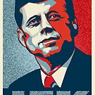 JFK Shepard Hope Style Poster (Red Blue High-Res Textured) by CassAnaya