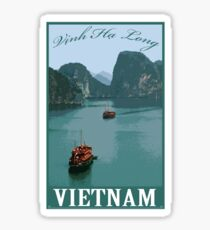 Vinh Ha Long (Ha Long bay) Vietnam Retro Travel Poster Sticker
