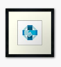 Handshake Forming Cross Octagon Retro Framed Print