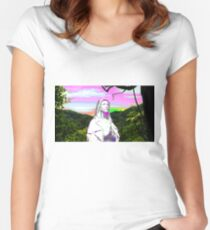 psychedelic sunset hail mary Women's Fitted Scoop T-Shirt